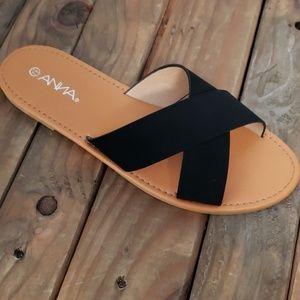 Black suade criss Cross Slides
